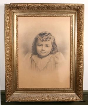 Large rubbed portrait of young girl