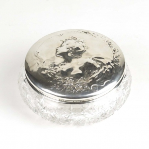 SOLD: Art Nouveau silver and glass powder jar by Gorham, 1902