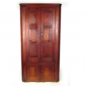 19th century primitive corner cabinet with blind paneled doors