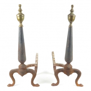Antique cast iron and brass fireplace andirons