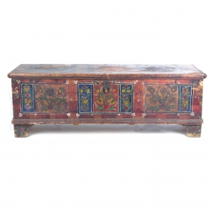 SOLD - Large antique paint decorated blanket chest