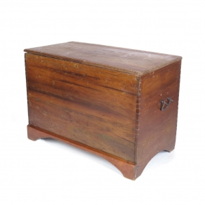 Large 19th c dovetailed blanket box with blacksmith wrought handles