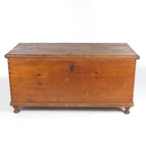 SOLD: 19th century primitive pine blanket chest with turned feet
