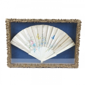 Antique hand painted silk fan in gold leaf shadowbox
