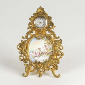 Antique Viennese gilt bronze and enamel miniature clock