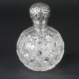 SOLD - British sterling silver and cut glass vanity bottle by Brockwell & Son, London, 1891