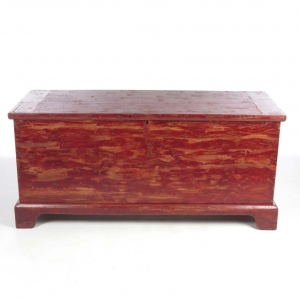 Large 19th century poplar blanket chest with red paint