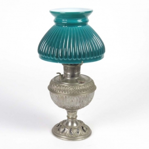 Bradley & Hubbard junior center draft nickel oil lamp with green shade