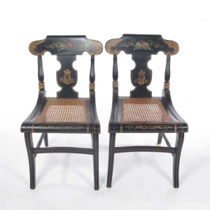 SOLD: Pair of 19th century Hitchcock painted cane seat side chairs