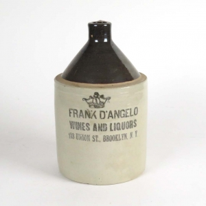 Vintage stoneware whiskey jug, Frank D'Angelo Wines and Liquors, Brooklyn