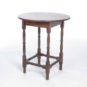Antique Tiger Maple Stretcher Base Round Table