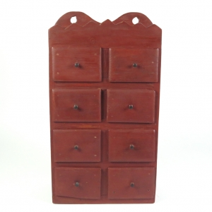SOLD: Vintage red painted spice cabinet