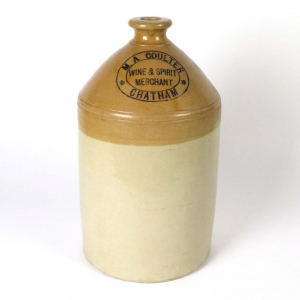 SOLD: British George Skey stoneware flagon, M. A. Coulter, Wine & Spirit Merchant, Chatham