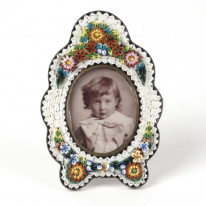 SOLD - Antique Italian micro mosaic white picture frame