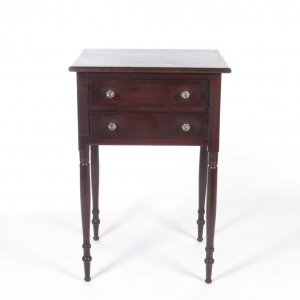 Antique mahogany Sheraton 2 drawer stand with reeded columns