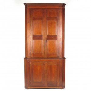 19th century cherry inlaid blind door corner cupboard