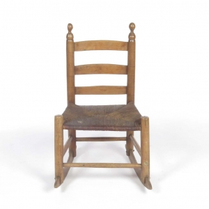 19th c. primitive rush seat rocking chair