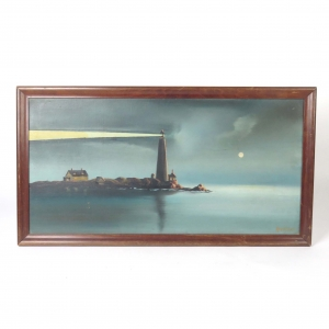 Antique Oil Painting Rouillard Lighthouse Seascape Nautical Signed