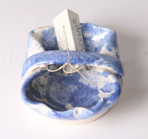 Early blue and white salt glaze handled dish