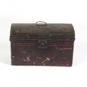 Antique tin toleware document box in black and red
