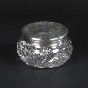 Antique cut glass powder jar with sterling lid by R Blackinton