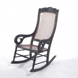 SOLD: Antique caned seat rocking chair in Hitchcock style paint