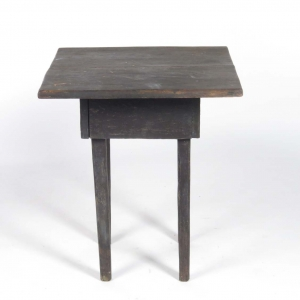 SOLD: Vintage black painted rustic wooden side table