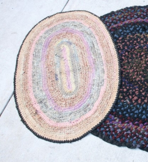 Early pastel colored rag rug