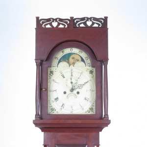 SOLD - Antique 19th century American 8 day tall case clock with moon dial