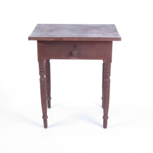 SOLD: Antique 19th c one drawer stand in maple with red stain