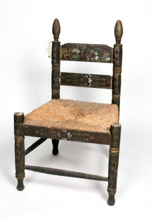 Early painted chair with rush seat