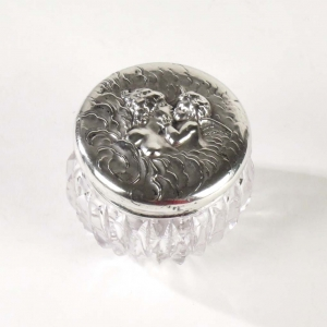 SOLD: Antique miniature powder jar with sterling silver lid by Edward Ball, NY