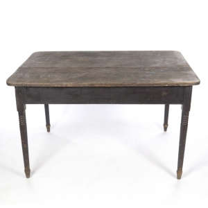 SOLD: Primitive 19th c. farm table with black painted base