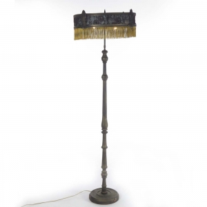 Antique floor lamp with lace fringe shade