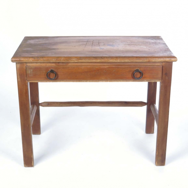 Vintage Knotty Pine Writing Desk Table C. 1920s By Habitant, Bay City,  Michigan