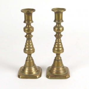 SOLD: English Victorian brass beehive push up candle sticks