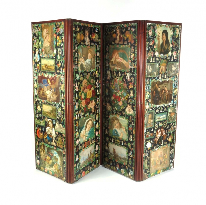 SOLD Antique Victorian decoupage privacy screen room divider